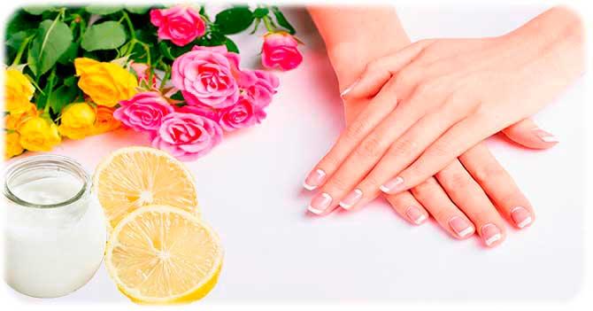 Йогурт и лимон для рук