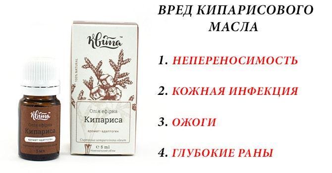 Вред кипарисового масла