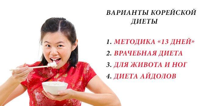 Варианты корейской диеты