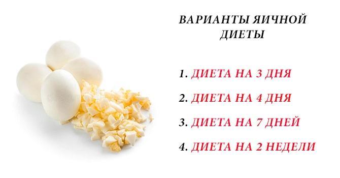 Варианты яичной диеты