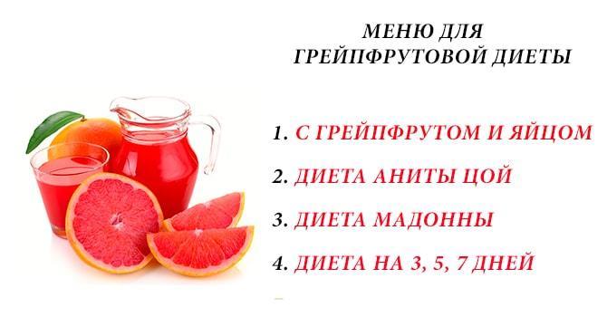 Виды грейпфрутовой диеты